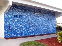 south florida mural painter bill savarese arcylic on stucco wave wall