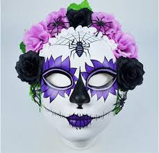day of the dead masks day of the dead painted mask w flower trim cappel s