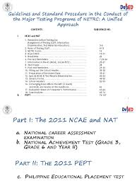2011nat ncae pept final secondary test assessment