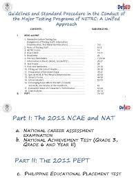 2011nat ncae pept final secondary test assessment