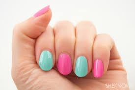 photo tutorial two toned colorblocking nail design