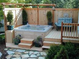 bathroom wooden deck with tub retreat using wooden pergola
