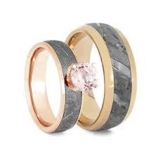 matching wedding bands gold meteorite ring set with morganite matching wedding