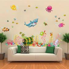 underwater sea world wall stickers cartoon fish shark diy home