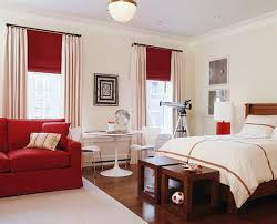 beige wall theme and beige curtains also red window blind