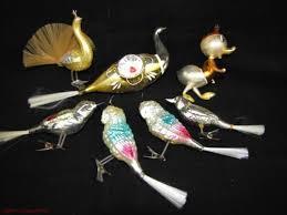 7 vintage mercury glass bird ornaments tails duck