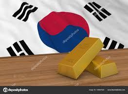 Flag Of South Korea South Korea Finance Concept Gold Bars In Front Of South Korean