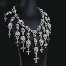 jewelry statement necklace images Skulls and crosses statement necklace fantasy jewelry goth wedding jpg
