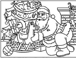 santa claus puts gifts near christmas tree coloring pages