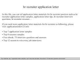 Hr Recruitment Resume Sample by Hr Recruiter Application Letter