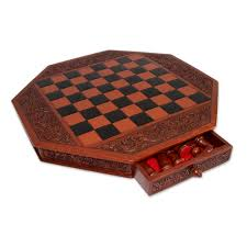 Chess Board Design Artisan Crafted Peruvian Wood Leather Chess Set Colonial Octagon