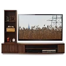 Bookshelf Entertainment Center Wall Mount Tv Console Curve Mocha 2 Piece Bookcase Woodwaves
