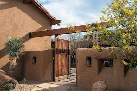 Terracotta Tile Roof Rustic Courtyard Ideas Landscape Southwestern With Rustic Wood