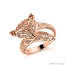 silver rose rings images Romantic fox lover silver rose gold animal diamond open ring jpg