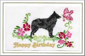 belgian sheepdog uk belgian shepherd dog birthday card embroidered by dogmania 8 x6 g5664