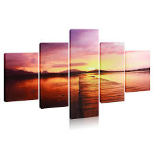 online get cheap wall stickers for hanging frames aliexpress com 5pcs set hanging painting nightfall bridges canvas painting wall art picture for home living room
