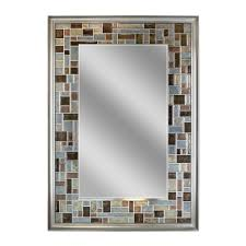 deco mirror 34 in l x 24 in w windsor tile mirror in brush