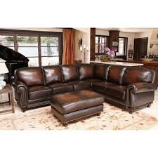austin top grain leather sectional with ottoman venezia top grain leather sectional and ottoman neis living room
