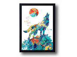 and moon watercolor art print wolf painting wolf poster wolf