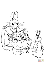 peter and family get ready for a walk coloring page free