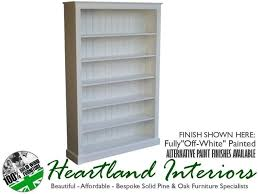 solid pine white painted 6ft x 4ft bookcase with 5 adjustable shelves