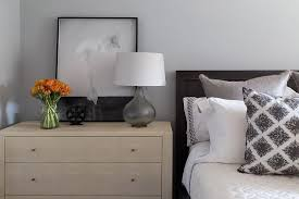 Gray Bedroom Dressers Black Wood Bed With Blond Dresser As Nightstand And Smoke Gray
