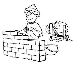 construction worker building a wall on jobs coloring pages batch
