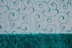 chagne chair sashes teal swirl organza chair sashes