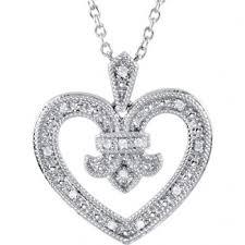 vintage diamond necklace pendants images Sterling silver antique vintage fleur de lis heart diamond pendant jpg