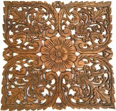 Thai Home Decor by Oriental Home Decor Large Square Floral Wood Wall Hanging Rustic