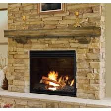 rustic pine wood fireplace mantel shelf brick anew