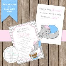 sweet dumbo baby shower invite digital file print anywhere by