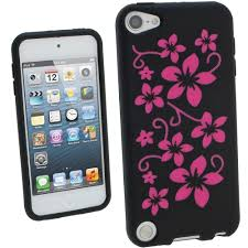 ipod touch 6th generation black friday deals igadgitz black u0026 pink flowers silicone skin case cover for apple