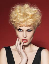 short 50s hair with blonde curls and sunflower color accents