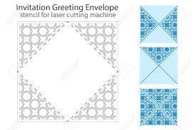 envelope template for laser cutting square format die of wedding