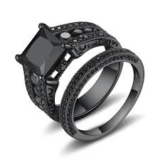 black wedding sets bridal sets cheap bridal ring sets wedding ring sets lajerrio