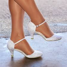 womens ivory white lace low kitten heel toe strappy bridal