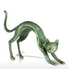 home sculptures best and cheap bronze tomfeel stretching cat mysterious resin
