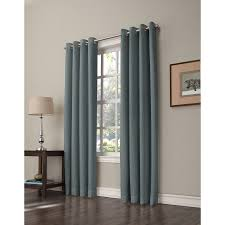 shop allen roth romanby 84 in sky blue polyester grommet room