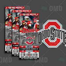 Ohio State Car Flags Ohio State Buckeyes Sports Party Invitation 2 5x6 Sports Tickets