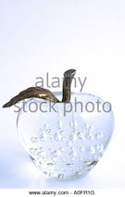 ornamental glass apple paperweight stock photo royalty free image
