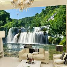 custome photo 3d wall mural landscape waterfall sofa tv background