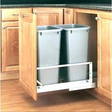 under sink trash pull out in cabinet trash can goodonlineclub in cabinet trash can wood