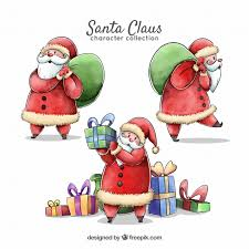 santa claus picture several characters of watercolor santa claus vector free