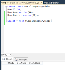 Sql Declare Temp Table Creating Temporary Tables In Sql Server