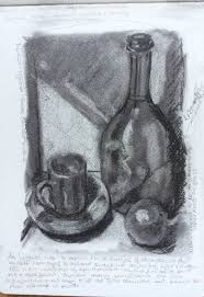 drawn candle tonal pencil and in color drawn candle tonal