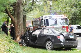 3 taken to hospital after car slams into tree on round hill road