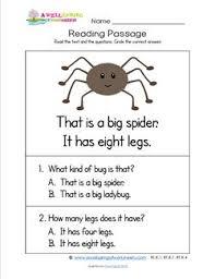 kindergarten reading passage kindergarten reading passages spider a wellspring