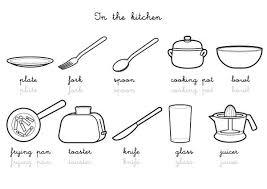 coloriage ustensiles de cuisine coloriage imagier en anglais kitchen vocabulary