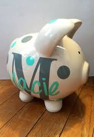 Monogrammed Piggy Bank Large Piggy Bank Is Hand Painted With Chevron Polka Dots And